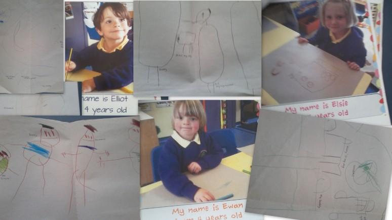 fotos e desenhos dos alunos ingleses